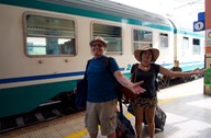 170724 1 Jan and Lee arriving from Palmero on a very hot late train